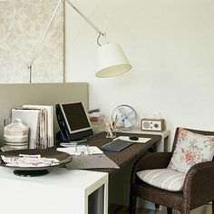 Clean, unobtrusive file holders and lamp, warm and textured chair. Inspiration for kitchen office. Arbeitsplatz