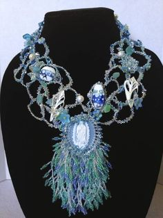 """Waves of Grace"" A Freeform Beaded Necklace by CraftyMamaBee"