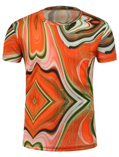 T-Shirts | Colormix 3D Irregular Geometric Print T-Shirt - Gamiss