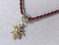 Pot Leaf Necklace Decorative Bail Marijuana Charm by IsleOfCraftin, $9.00