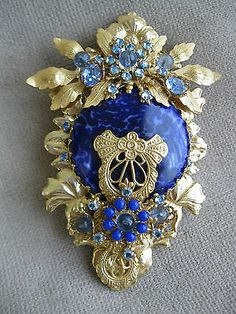 Stanley Hagler Goldtone Filigree Lapis Blue Crystal Brooch Pin Neiman Marcus   eBay