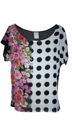 Blusa con doble estampado flores-puntos