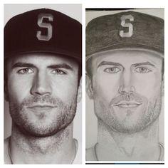 Sam Hunt portrait, pencil drawing