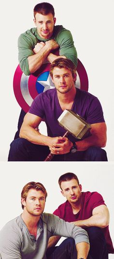 Avengers, Chris Evans & Chris Hemsworth. And now I'm going to go watch this movie