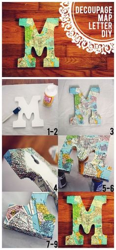 Best DIY Decorative Letters with Lots of Tutorials – For Creative Juice DIY Vintage Map Decoupage Letter. Decorate letters using decoupage glue, vintage map pages—wall-hanging or free-standing! Diy Marquee Letters, Rustic Letters, Light Letters, Diy Decoupage Letters, Decorate Letters, Decoupage Glue, Cardboard Letters, Paper Mache Letters, Diy Leather Monogram