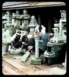 THE STONE CARVERS  Ca.1897-1900 T. ENAMI Glass Slide from a Stereoview.