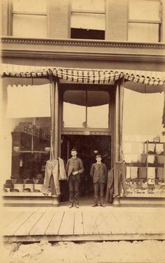 George Robertson Gordon in front of his men's wear store, 107 Carrall Street, ca. 1890