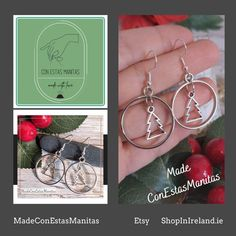 These cute and dainty set of dangle drop earrings with a silver Christmas tree on a hoop will give you that perfect festive touch these holidays.