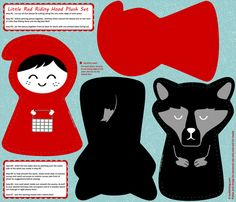 DIY little red riding hood plush pattern set - click to see sewn fabric by bubbledog on Spoonflower - custom fabric