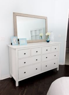 DIY white and slightly distressed from: Jenna Sue: Ikea Hemnes dresser hack! Step by step instructions and photos by cledia bertoli
