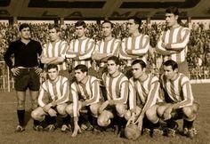 SPORTING DE GIJÓN-21 de enero de 1968. Sporting, 3 Osasuna, 0 De pie, de izquierda a derecha: García Cuervo, Granero, Alonso, Uribe, Eraña y Puente. Agachados, ene l mismo orden: Churruca, Alberto, Solabarrieta, Pocholo y Amengual.