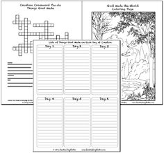 Chapter 1 of the free Catholic Bible Stories for Children' Unit Study. Creation! Writing things that God made on each of the days of creation, cross word puzzle, coloring page and more hands on projects including vocabulary from the Catechism.