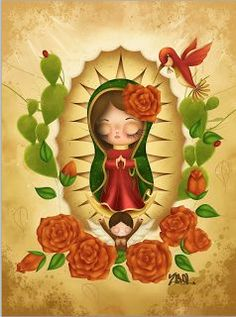 Our Lady of Guadalupe Catholic Art, Religious Art, Tattoo Virgen, Madonna, Mexico Art, Mama Mary, Chicano Art, Chicano Tattoos, Mary And Jesus