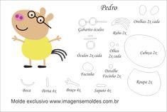 Molde Peppa Pig, Peppa Pig Doll, Peppa Pig Teddy, Felt Animal Patterns, Stuffed Animal Patterns, Peppa Pig Painting, Aniversario Peppa Pig, Pig Party, Baby Doll Clothes