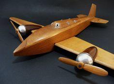 Avion ancien en bois Art Déco 1930, Modèle réduit sur socle, Maquette, Modélisme Aviation, Aéronautique de collection, Cadeau de la boutique sofrenchvintage sur Etsy