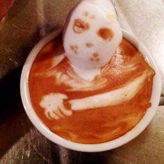 Horror Coffee Art: Jason Voorhees - http://www.dravenstales.ch/horror-coffee-art-jason-voorhees/