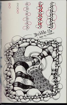 Bubble-Up Tangle Pattern by molossus, who says Life Imitates Doodles, via Flickr