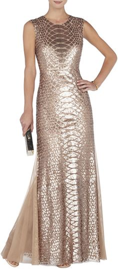 BCBGMAXAZRIA Charlyze Round-Neck Snake Sequined Gown on shopstyle.com