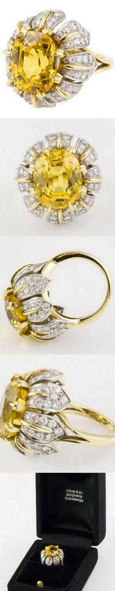 collage @styleestate Tiffany & Co. Schlumberger Sapphire Diamond Platinum Gold Ring