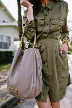 Olive shirt dress, Marc by Marc Jacobs Hobo Handbag