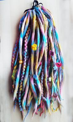Custom Dyed Wool TieDyed Dreadlock Fall with von PurpleFinchStore Dyed Dreads, Faux Dreads, Wool Dreads, Dreadlocks, Dreadlock Hairstyles, Cool Hairstyles, Dread Braids, Dreadlock Extensions, Hippie Hair