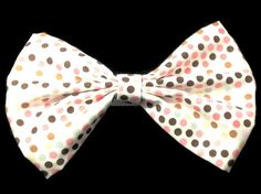 Pink white fabric hair bow for teens by Sweettreasuresboutiq