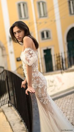 liz martinez 2018 lisbon off the shoulder sweetheart neckline full embellishment elegant romantic sheath fit and flare wedding dress (11) zsdv -- Liz Martinez Wedding Dresses 2018