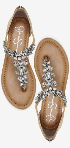 Sandals Summer - Jeweled Summer Sandals ❤︎ cUte For A Beach Wedding - There is nothing more comfortable and cool to wear on your feet during the heat season than some flat sandals. Pretty Shoes, Beautiful Shoes, Cute Shoes, Me Too Shoes, Cute Sandals, Shoes Sandals, Dress Shoes, Flat Sandals, Bling Sandals