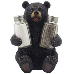Decorative Black Bear Glass Salt and Pepper Shaker Set with Holder Figurine Sculpture for Rustic Lodge and Cabin Kitchen Table Decor Centerpieces  Spice Rack Decorations or Teddy Bear Gifts >>> Read more reviews of the product by visiting the link on the image. Note:It is Affiliate Link to Amazon.