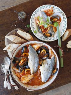 Sea bass and seafood Italian one-pot