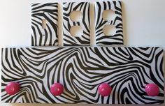 Zebra Print Girls Room Ideas | For the tween's room: Zebra Stripe Print Pink White Coat Rack & Light ...
