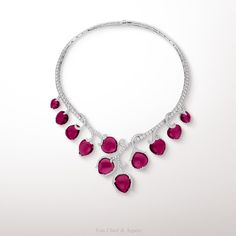 -Boboli necklace, Les Jardins collection- White gold, rubellites, diamonds. The Boboli necklace from Les Jardins collection, is suggestive of the luxurious vegetation found in the Boboli gardens of Florence and evokes nature's poetry. Eleven cabochon rubellites have been cut specifically to depict bright fruits on this delicate creation.