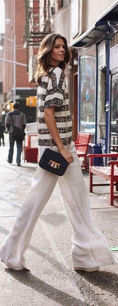 Calça Pantalona como a mais nova tendência de 2017, como uma perfeita combinação para os mais diversos looks de verão