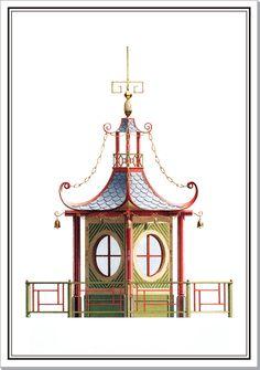 Andrew Zega and Bernd H. Dams, watercolor, pagoda at Bonnelles