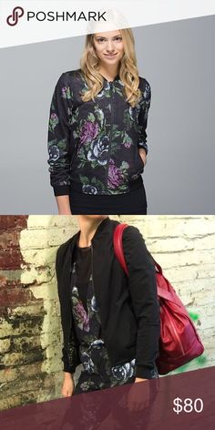 $$SALE$$ lululemon Party Bomb Jacket sz 6 In excellent condition! Only worn once! This jacket is made of the soft luon fabric. It is reversible. Floral on one side, black on the other. Hip-length. Zipper pockets. lululemon athletica Jackets & Coats