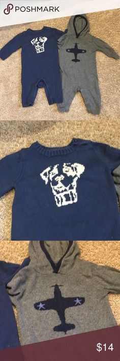 2 Adorable Baby Gap Sweater Jumpers 6-12m 2 adorable Baby GAP sweater jumpers that will keep your baby warm and stylish. The navy jumper has a picture of a dog on it with a small pocket on the left arm. The gray jumper has a picture of a plane on it with navy elbow patch details. In good condition. GAP One Pieces