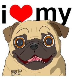 I Love My Pug. Check it out on t-shirts ($20.00) or other cute dog merchandise.  <3  http://www.galloree.com/Adopt-A-Poody-I-Love-My-Dog-Pug--25496.htm