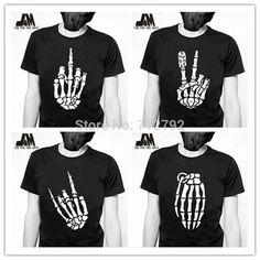 Barato Moda verão homens de punk rock crânio esqueleto dedos tee esqueleto disigner camisa luminosa projeto, Compro Qualidade Camisetas diretamente de fornecedores da China:                                  Todos os produtos serão cuidadosamente embalados e enviad