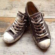 Vintage Charcoal Grey Converse Allstars + Good Sole  Size M5 + W7 on Etsy, $55.00