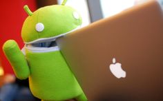 android robot and apple macbook air laptop wallpaper