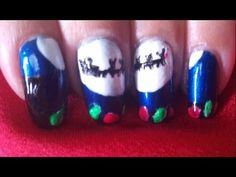 Christmas nail art tutorial - Santa's sleigh