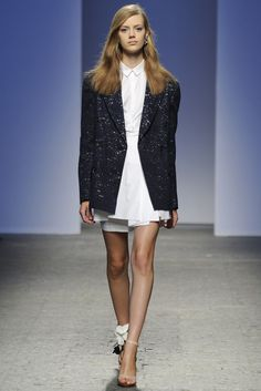 No. 21 RTW Spring 2014 - Slideshow Glittery navy tuxedo jacket over button down silk formal shirk tucked in a high-waist pleated(?) miniskirt.