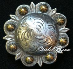 "Set of 6 WESTERN HORSE TACK 1-1//2/"" BRONC RIDER BERRY SADDLE CONCHOS SCREW BACK"
