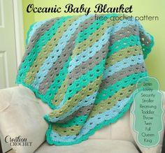 FREE crochet pattern Oceanic Baby Blanket- pattern instruction in 10 sizes #cre8tioncrochet #freecrochetpattern
