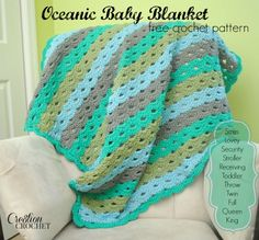 FREE crochet pattern Oceanic Baby Blanket- pattern instruction in 10 sizes #cre8tioncrochet #freecrochetpattern