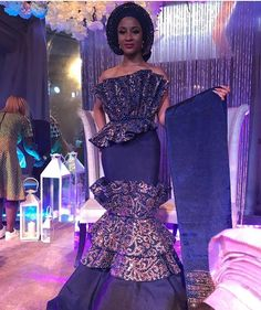22 Best Nigerian Lace and Aso-Ebi Styles and Designs for May 2018 - Fashionuki African Attire, African Wear, African Women, African Dress, African Prom Dresses, African Wedding Dress, African Fashion Dresses, Ankara Gowns, Ankara Dress