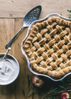 Apple Pie with Crème Fraîche topped with a dollop of lightly whipped ...