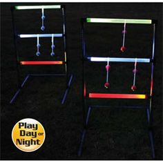 Pitch these glowing bolas onto the LED ladder rungs to score—or foil opponents by knocking off their bolas with a well-aimed defensive toss! Set includes 2 LED ladders, 6 glow bolas with mini glow sticks and 1 carry bag. Lighted target for nighttime play. $39.95 Glow Stick Games, Glow Sticks, Ladder Golf, Fun Outdoor Games, Relay For Life, Lawn Games, Summer Games, Grad Parties, Night Time