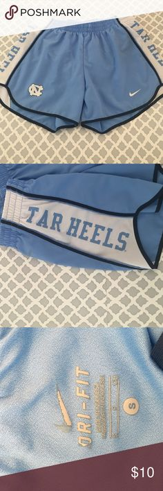 """Nike Dri-fit Shorts Carolina Tar Heels Nike athletic shorts. In great condition- the tag on the inside is a bit worn but other than that no other signs of tears or worn down. Reads """"Tar Heels"""" on both sides and has the UNC logo on the front. Size small Nike Shorts"""