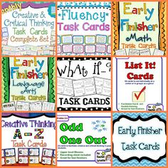 Task Card Corner: Early Finisher Task Cards : Beyond Busy Work!
